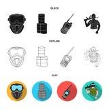 Ausrüstung, Maske, Fass, Barrikade Gesetzte Sammlungsikonen des Paintball in Schwarzem, flach, Entwurfsartvektor-Symbolvorrat lizenzfreie abbildung