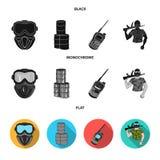 Ausrüstung, Maske, Fass, Barrikade Gesetzte Sammlungsikonen des Paintball schwarzes, flaches, einfarbiges Artvektorsymbolauf lage vektor abbildung