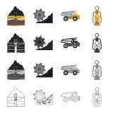 Ausrüstung, nützlich, Fossil und andere Netzikone in der Karikaturart Beleuchtung, Bergbau, Industrieikonen in der Satzsammlung Stockfotografie