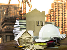 Ausrüstung und Werkzeugausgangs- und -gebäudebaugewerbegebrauch Lizenzfreies Stockbild