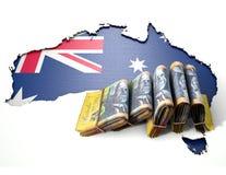 Ausralia-Karte und gefaltete Anmerkungen Lizenzfreies Stockfoto