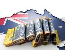 Ausralia-Karte und gefaltete Anmerkungen Stockfotografie