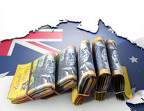 Ausralia Map And Folded Notes Stock Photography