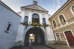Ausros gate (gate of dawn) with basilica of Madonna Ostrobramska Royalty Free Stock Image