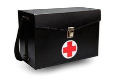 Ausrüstungskasten der ersten Hilfe im weißen Hintergrund oder in lokalisiertem Hintergrund, Notfall benutzte Hilfskasten für Stüt Stockfotografie