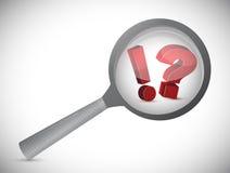 Ausruf und Frage vergrößern Suche Stockfoto