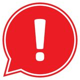 Ausrufezeichen in der roten Spracheblase Stockfotos