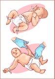 Ausschnitt der Nabelschnur auf einem neugeborenen Baby stock abbildung