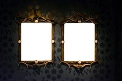 Ausschnitt des Art Museum Frame Vintage Ornate-Malerei-Bild-freien Raumes Stockbild