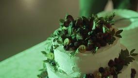 Ausschnitt- und Faltenplatten auf der Hochzeitstorte stock video