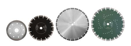 Ausschnittdisketten mit Diamanten - Diamantdisketten für konkretes Isolat Stockfotografie