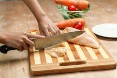 Ausschnitthühnerbrust der Frau Hand Lizenzfreie Stockbilder