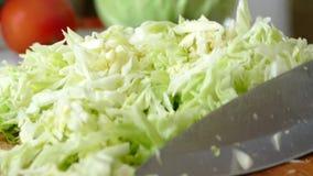 Ausschnittkohl und anderes Gemüse auf einem Schneidebrett in der Küche Vegetarische gesunde Nahrung stock video