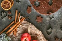 Ausschnittlebkuchenplätzchen mit Zimt und Band für Weihnachten, Weihnachtsbacken Stockbild