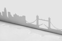 Ausschnittpapierschattenbild der London-Stadt, England Stockfotos