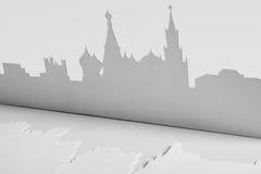 Ausschnittpapierschattenbild der Mocsow Stadt, Russland Stockfotografie
