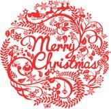 Ausschnittschattenbild der frohen Weihnachten Stockfotografie
