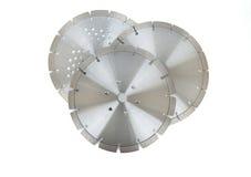 Ausschnittscheiben mit Diamanten - Diamantdisketten für den Beton lokalisiert auf dem weißen Hintergrund Lizenzfreie Stockbilder