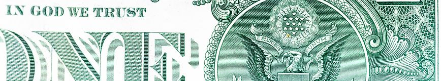 Ausschnittteil einer hochauflösenden, Eindollar-Banknote als Titel für ein Blog oder der Website Stockfotografie