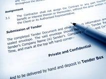 Ausschreibungsunterlageunterordnung Lizenzfreies Stockbild