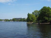 Aussenalster (lago esterno Alster) a Amburgo Fotografia Stock