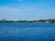 Aussenalster (lago esterno Alster) nel hdr di Amburgo Fotografia Stock