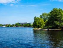Aussenalster (lago esterno Alster) nel hdr di Amburgo Fotografia Stock Libera da Diritti