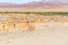 Aussenkehr man made shacks on the bank of Orange river. Royalty Free Stock Photography
