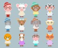Aussenseiterhippie-stellten nette Tierjungenmädchenjungsmaskottchen-Karikaturikonen flache Designvektorillustration ein Lizenzfreie Stockfotografie
