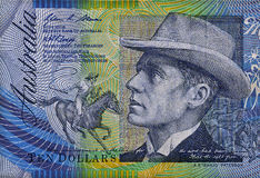 Aussie $10 note detail. Australian $10 polymer note detail close up Royalty Free Stock Image
