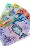 Aussie cash. 5 different denominations of australian bank notes Royalty Free Stock Photography