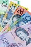 Aussie cash. 5 different denominations of australian bank notes Stock Photo