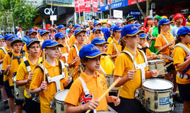 Aussie children in band procession on australia day Stock Images