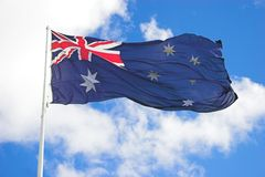Aussie Flag. Large Australian Flag Close up royalty free stock photo