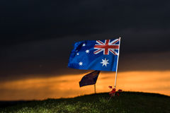 Aussie flag with poppies 1 Stock Images