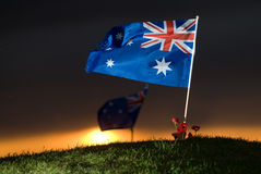 Aussie flag with poppies 5. An australian flag on a hill near the city of Pozières. Here the Anzac army fought violent battles for control of the area during Royalty Free Stock Image