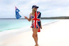 Aussie Aussie Aussie-Mädchen patriotisch lizenzfreies stockfoto