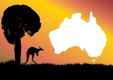 Aussie map kangaroo and Boab tree Royalty Free Stock Photography