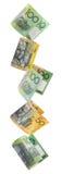 Aussie Money Border. Border of falling Australian money.  Fifty and hundred dollar notes raining down, isolated on white Stock Image