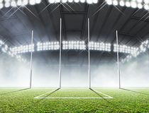 Sports Stadium And Goal Posts Royalty Free Stock Photo