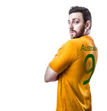 Aussie soccer player on white background Royalty Free Stock Images