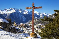 Aussois village and cross Stock Images