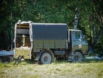 Ausstellung der Weinlesemilitärischer ausrüstung in der Kaluga-Region in Russland am 26. Juni 2016 Lizenzfreie Stockfotos