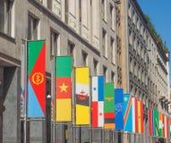 Ausstellung Mailand 2015 Flaggen Stockbild