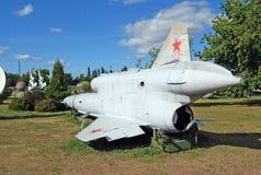 Ausstellung TU-143 ` Flug ` Sowjet, der unbemanntes Luftfahrzeug prospektiert stockfotografie