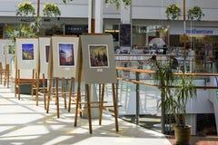 Ausstellung von Aquarellbildern Stockfotografie