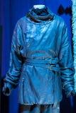 Ausstellung von Kostümen und von Stützen vom Film ` The Game von Throne ` in den Voraussetzungen des Seemuseums von Barcelona Stockfotos