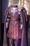 Ausstellung von Kostümen und von Stützen vom Film ` The Game von Throne ` in den Voraussetzungen des Seemuseums von Barcelona Lizenzfreie Stockfotos