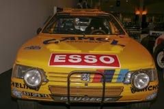 Ausstellung von Peugeot-Autos an Peugeot-Museum in Sochaux Frankreich stockfotografie