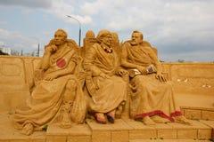 Ausstellung von Sandskulpturen Römischer Senat stockbild